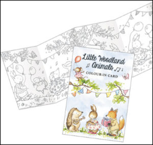 CP104 little woodland animals frieze colouring in card