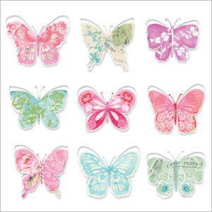 WS247 painted butterflies greeting card pop-out