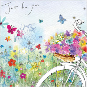Bicycle in the meadow greeting card