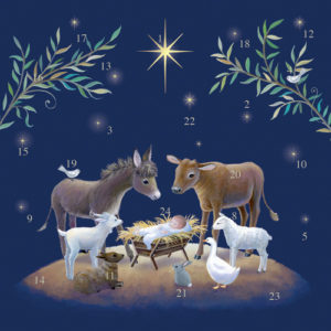 XM104 Nativity Stable Advent Calendar Card