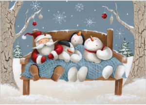 XR28 Sleeping Friends santa snowmen christmas card