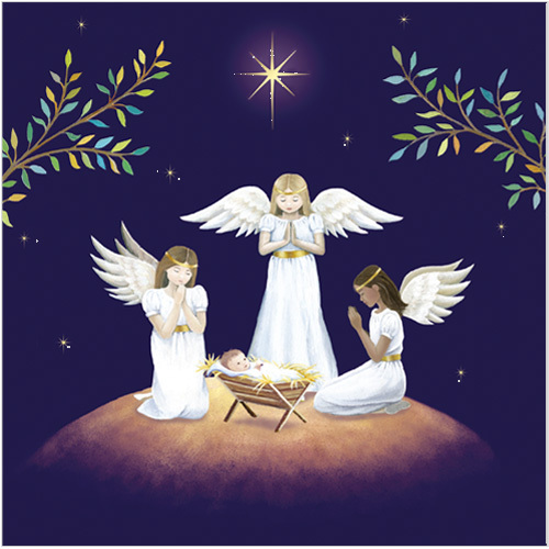 angels keeping watch christmas card xr11 - Religious Christmas Cards
