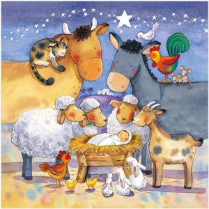 XS34 animal nativty christmas cards
