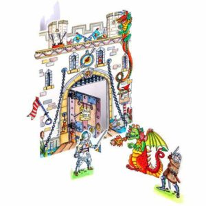 dragon castle 3D greeting card pop out