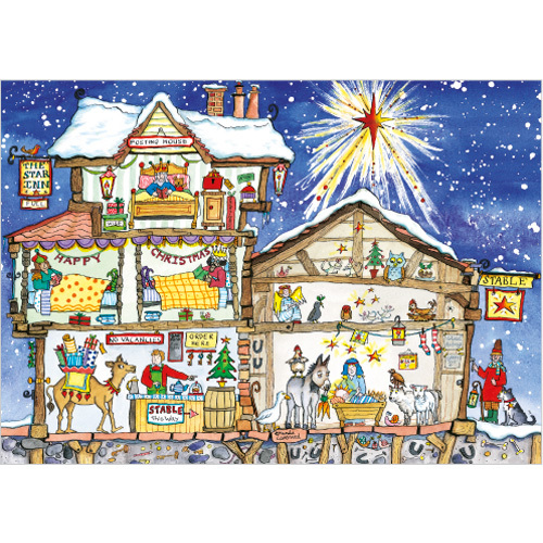 Cut Thru Star Inn Nativity Christmas Card XR26