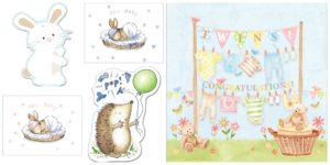 cute gift tag twins new baby greeting card