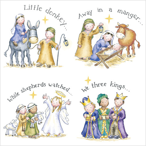 Cute Nativity Christmas Card Carols XR19