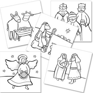 xcp005 nativity christmas cards colour in