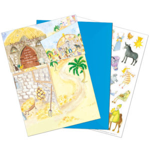 XM120 nativity stable christmas card with repositionable stickers