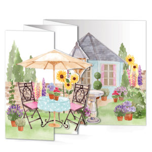 TF20 trifold ta garden pop out greeting card