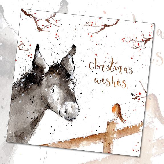 XS35 Little Donkey Cute Christmas Card