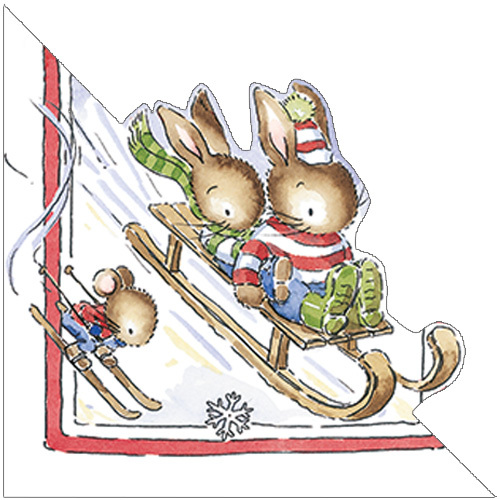 XR38 Cute Sledging Christmas Bunnies Card