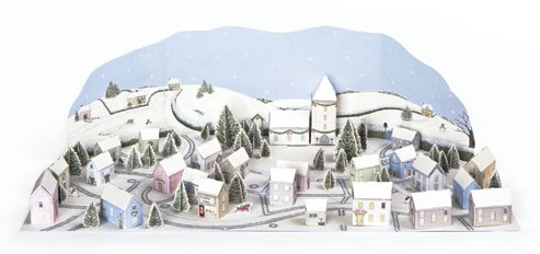 ADV19 Snowy Village Winter scene advent calendar