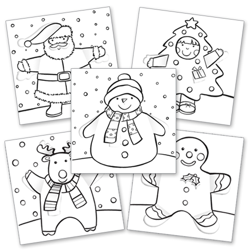 XCP001 Colour in Christmas Cards Characters Pop Out