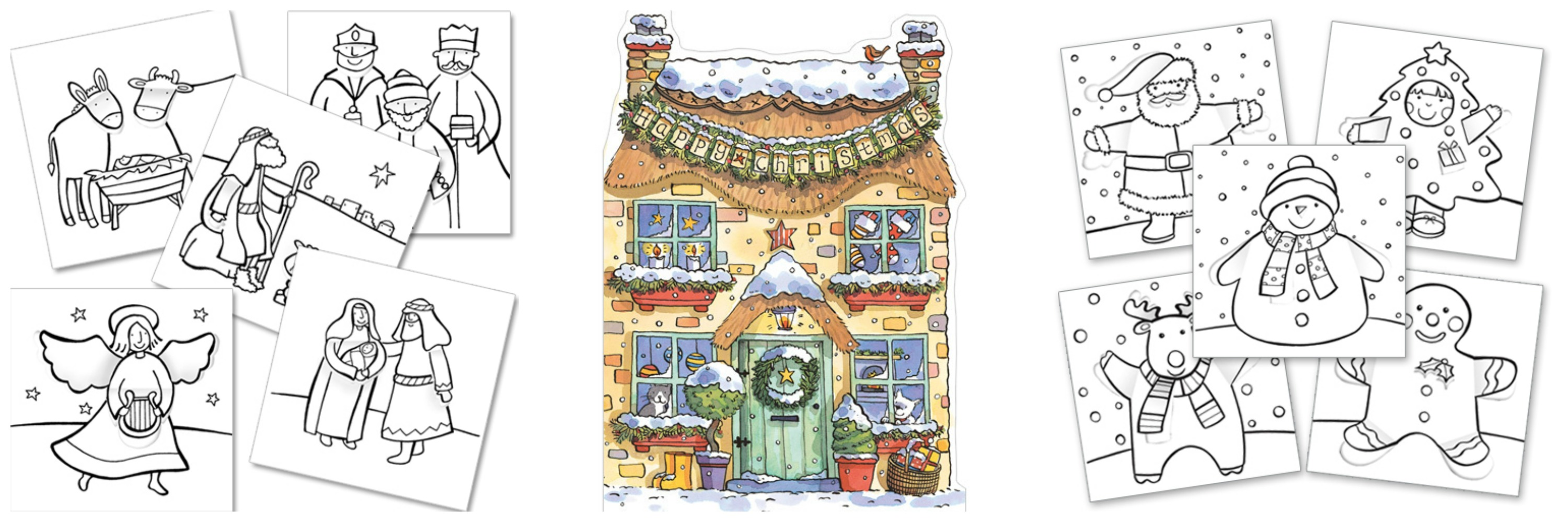 Colour in Christmas cards and a 3D Christmas House Xmas Card