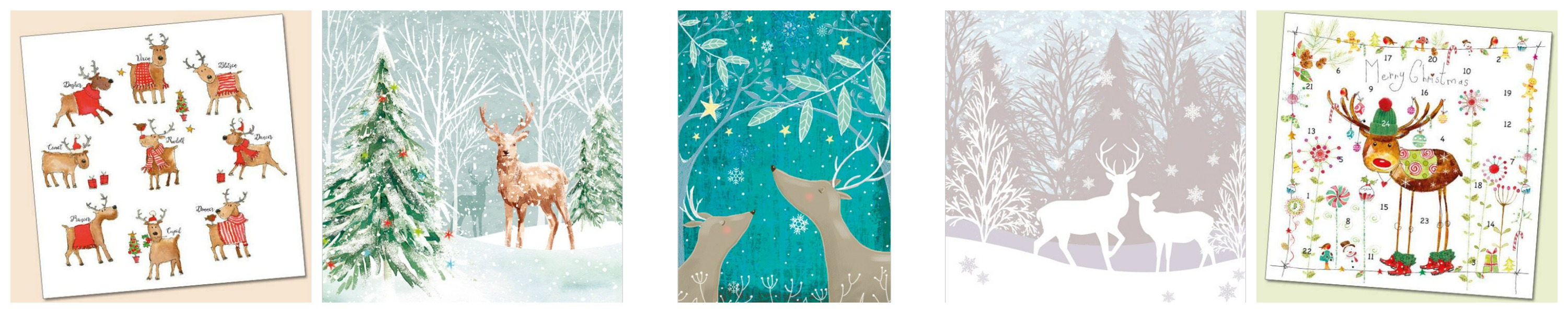 Deer and Reindeer Christmas Cards from Phoenix Trading