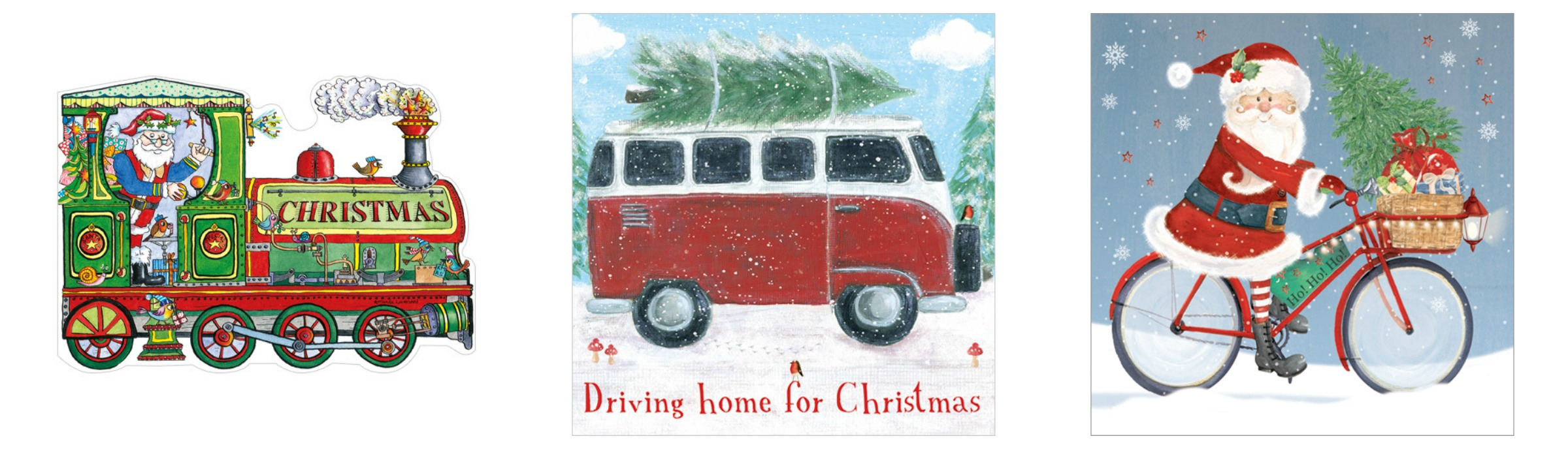 Santa Train Bicycle Campervan Phoenix Trading Christmas Cards