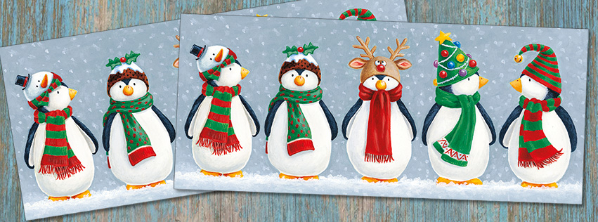 Cute Penguins in Hats Christmas Cards XS06