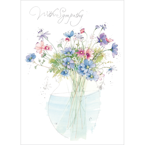 A168 With Sympathy flowers card