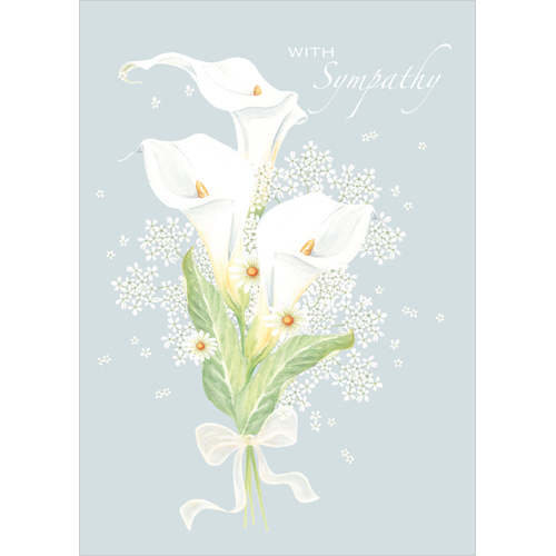 A172 With Sympathy card White lilies