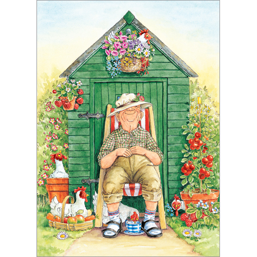 A106 Having A Rest Greeting Card Old Man Gardener Chickens