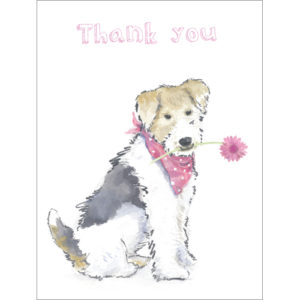 B025 Doggie Thank You sympathy acknowledgement card