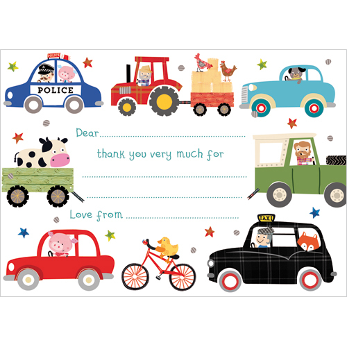 TY108 Wheels Thank You Notecards