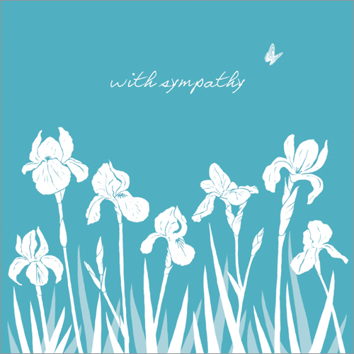WS181 White Iris With Sympathy card