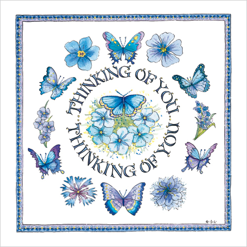 WS362 Thinking of you card blue flowers butterflies