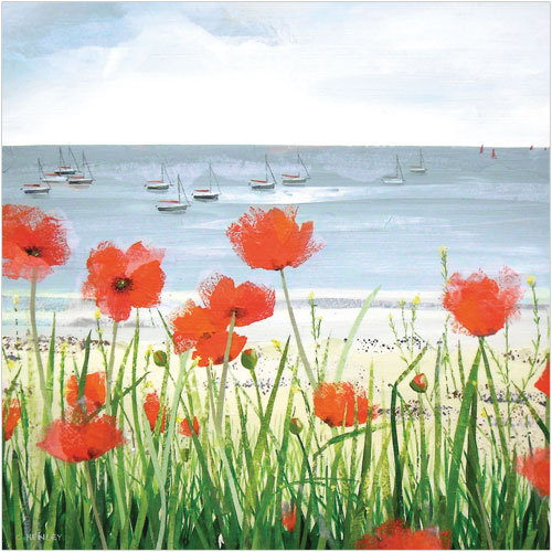 WS417 Coastal poppies sympathy card for loss of father