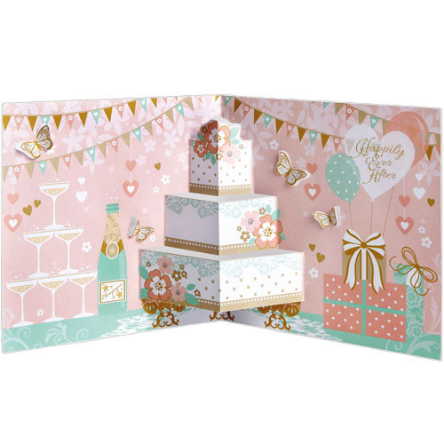 LS83 happily ever after wedding card pop up 3d