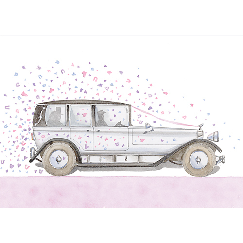 a137 wedding car greeting card