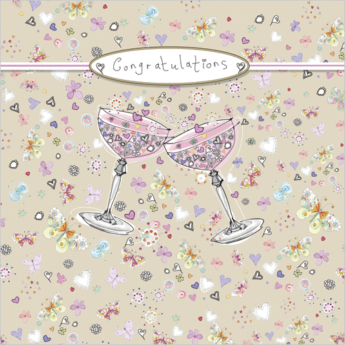 LS72 congratulations champagne glasses wedding greeting card