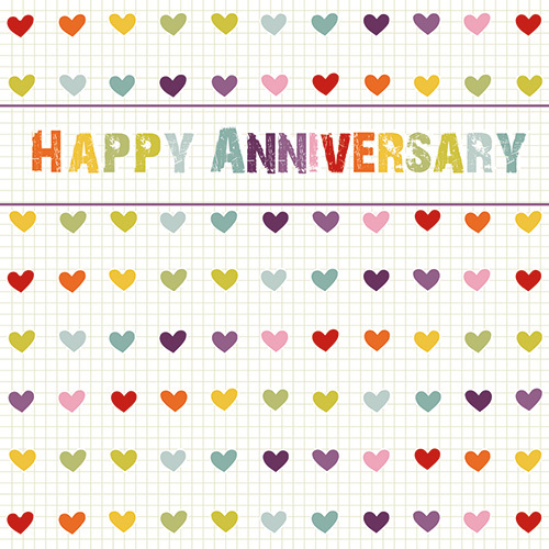 LS91 happy anniversary greeting card hearts