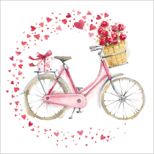 WS349 hearts on a bicycle love valentines card