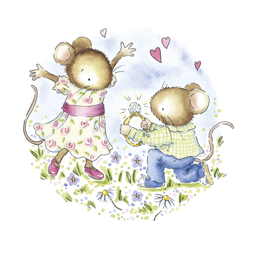 ws375 engaged mice greeting card engagement