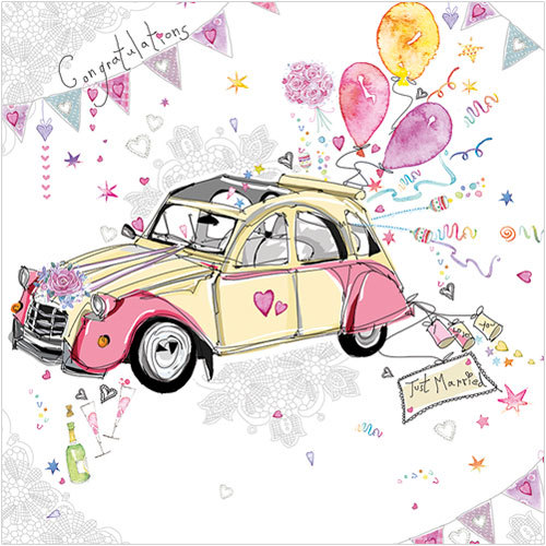 ws409 wedding car greeting card