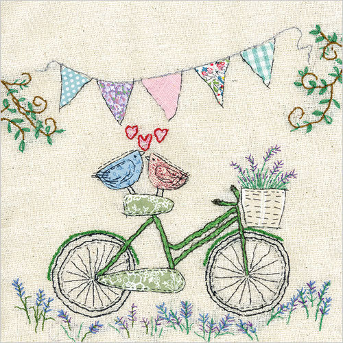 WS442 lovebirds on a bicycle love valentines card