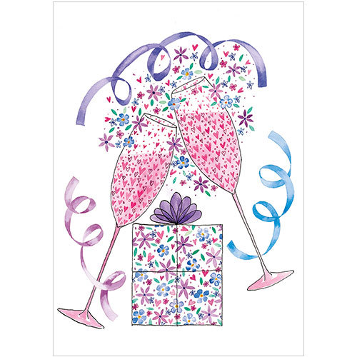 a260 pink champagne valentines wedding anniversary engagement card