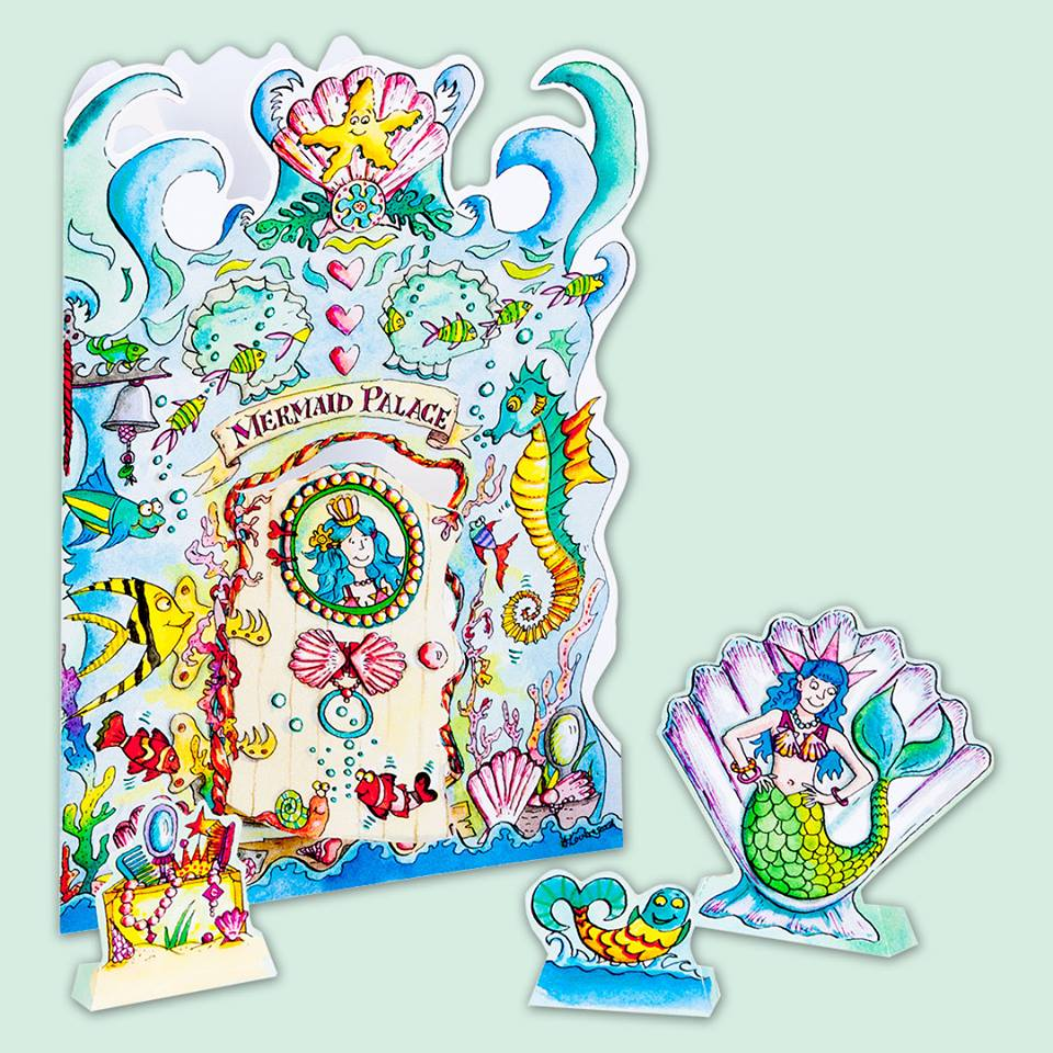 a261 mermaid palace 3d pop up greeting birthday card create a scene