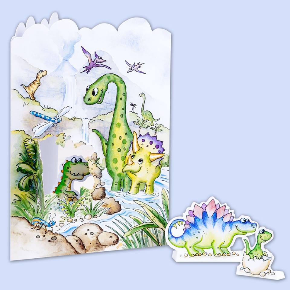 3D pop up dinosaur birthday card A262 Dinosaurs World