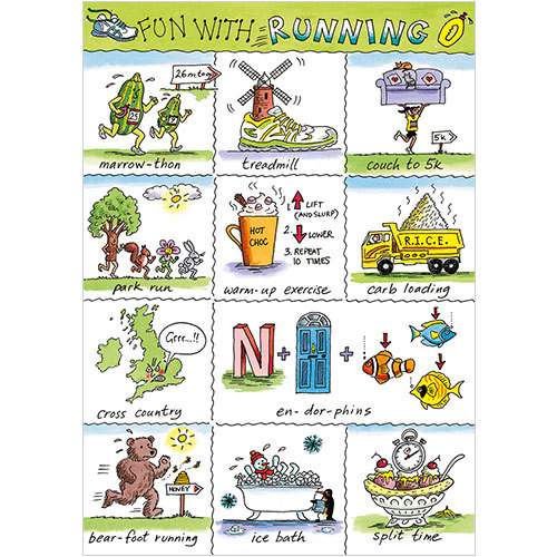 a266 fun with running funny greeting card