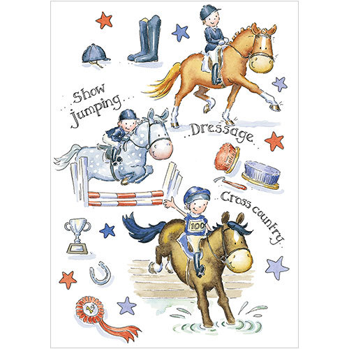 a267 horsing about equestrian horse pony greeting card
