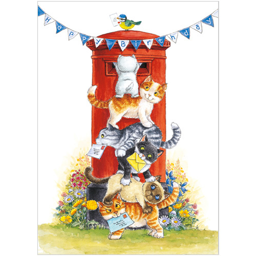 A215 birthday cats greeting card