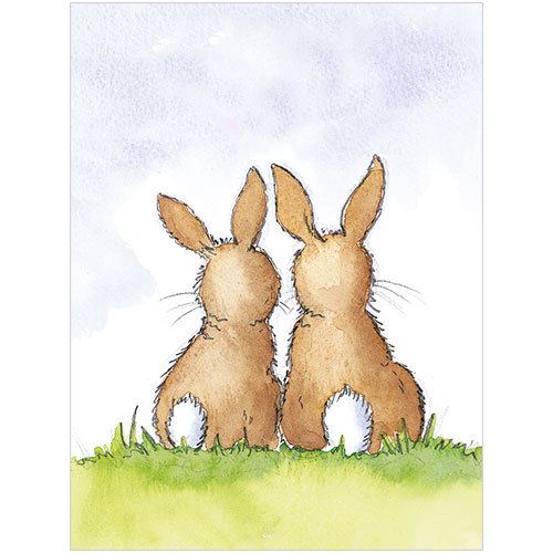 B041 two bunnies cute easter card