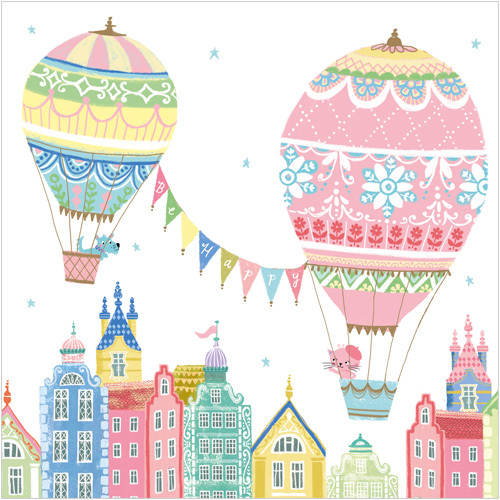 Houses & Balloons Bon Voyage Travel Greeting Card DC76