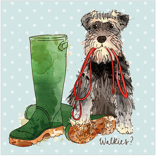 Walkies Dog Greeting Cards