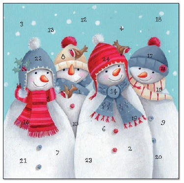 XAC01 Four Snowmen Advent Calendar Card