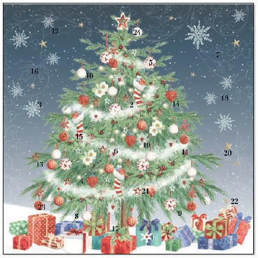 XAC04 Christmas Tree Advent Calendar Card