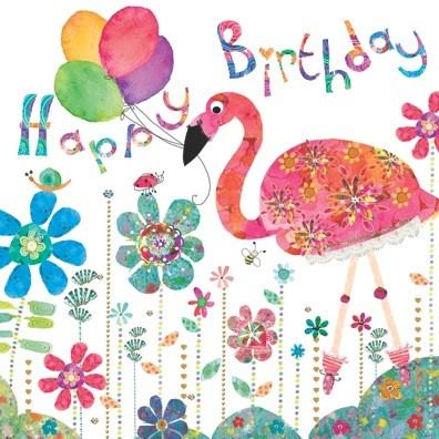 Happy Birthday Flamingo paperie greeting card  new design